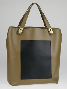 Balenciaga Clay/Black Calfskin Leather Pocket Tote M Bag