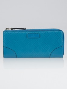 Gucci Turquoise Diamante Leather Zip Around Wallet