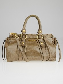 Miu Miu Taupe Vitello Lux Leather Soft Shopping Top Handle Bag
