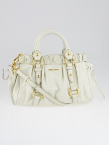 Miu Miu White Leather Small Soft Shopping Top Handle Bag
