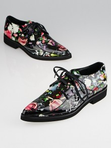 Alexander McQueen Black Multicolor Floral Loafers Size 8.5/39