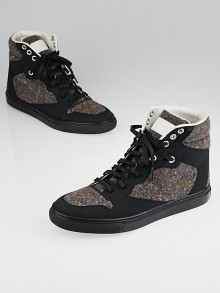 Balenciaga Multicolor Tweed and Black Rubber High-Top Sneakers Size 7.5/38