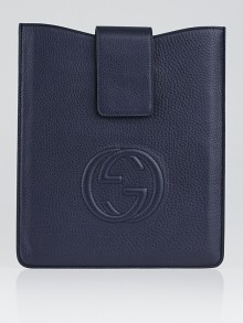 Gucci Navy Blue Leather Soho iPad Case