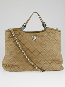 Chanel Brown Quilted Iridescent Calfskin Leather Tote Bag