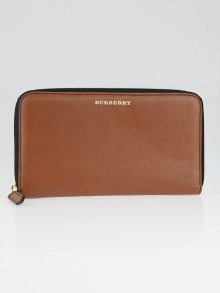 Burberry Brown Textured Leather Zip Around Wallet