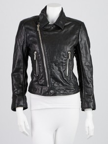 Balenciaga Black Lambskin Leather Classic Biker Jacket Size 8/40