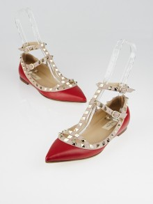 Valentino Red Smooth Leather Rockstud T-Strap Flats Size 6.5/37