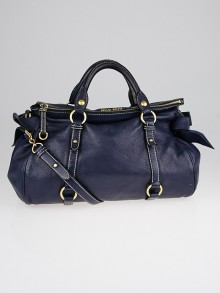 Miu Miu Pebbled Leather Bow Top Handle Bag