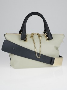 Chloe Street Marshmallow Grey/Black Leather Two-Tone Small Baylee Tote Bag