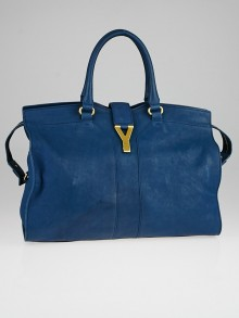 Yves Saint Laurent Blue Leather Medium Cabas ChYc Bag