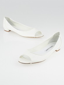 Manolo Blahnik White Perforated Vinyl Anetina Peep Toe Flats Size 7/37.5