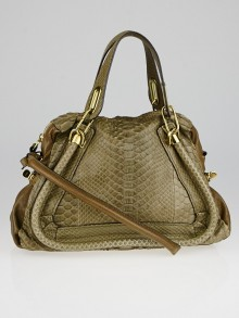 Chloe Dark Khaki Python and Leather Medium Paraty Bag