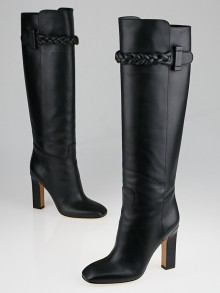 Valentino Black Leather Braided Tall Boots Size 6.5/37