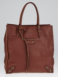 Balenciaga Chestnut Calfskin Leather Papier A5 Tote Bag