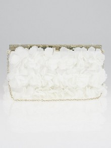 Valentino White Floral Applique Satin and Crystal Clutch Bag