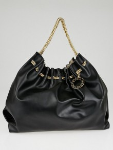 Stella McCartney Black Faux-Leather Gathered Hobo Bag