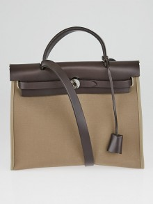 Hermes Etoupe/Ebene Canvas and Natural Leather Herbag Zip PM Bag