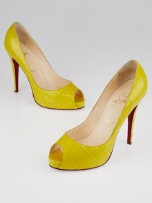 Christian Louboutin Yellow Crocodile Very Prive 120 Peep Toe Pumps Size 9.5/40