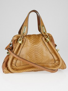 Chloe Brown Python and Leather Medium Paraty Bag