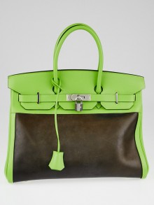 Hermes 35cm Vert Cru Swift and Amazonia Leather Palladium Plated Birkin Bag
