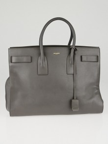 Yves Saint Laurent Grey Smooth Calfskin Leather Large Sac de Jour Bag