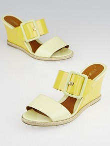 Fendi Yellow Patent Leather Slide Wedges Size 7/37.5