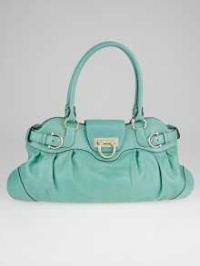 Salvatore Ferragamo Green Leather Marisa Shoulder Bag