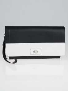 Givenchy Black/White Calfskin Leather Shark Wristlet Clutch Bag
