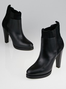 Balenciaga Black Leather and Suede Ankle Boots Size 8.5/39