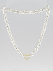 Tiffany & Co. Sterling Silver and 18k Gold Heart Link Necklace