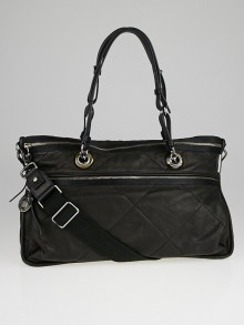 Lanvin Black Quilted Lambskin Leather Amalia Doublewear Satchel Bag