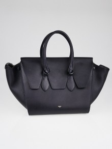Celine Navy Crisped Calfskin Leather Small Tie Tote Bag