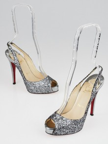 Christian Louboutin Anthracite Glitter No Prive 120 Slingback Pumps Size 5.5/36