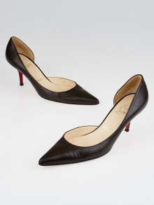 Christian Louboutin Brown Leather Half d'Orsay 70 Pumps Size 8/38.5