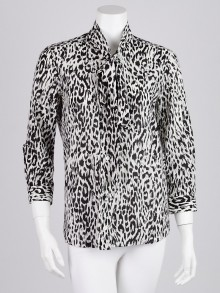 Gucci Black/White Animal Print Cotton Blend Tie Neck Blouse Size 8/42