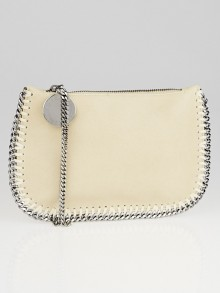 Stella McCartney Beige Shaggy Deer Faux-Leather Falabella Wristlet Clutch Bag
