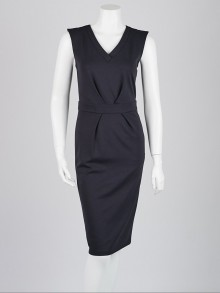 Armani Collezioni Navy Blue Viscose Blend Sleeveless Dress Size 4