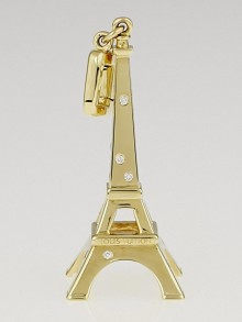 Louis Vuitton 18k Yellow Gold Diamonds Eiffel Tower Charm Pendant