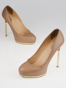 Valentino Nude Leather Studded-Heel Platform Pumps Size 6/36.5