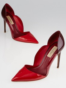 Valentino Red Patent Leather Scalloped Pumps Size 6/36.5