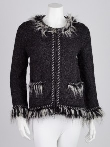 Chanel Anthracite Alpaca and Cashmere Blend Faux-Fur Cardigan Sweater Size 6/40