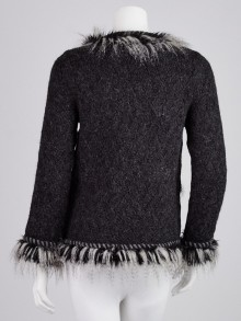 af8535d1b8ab15 Chanel Anthracite Alpaca and Cashmere Blend Faux-Fur Cardigan Sweater Size  6/40