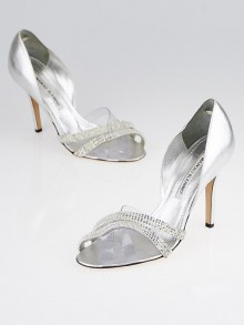 Manolo Blahnik Silver Leather and PVC Beaded Sandals Size 6.5/37