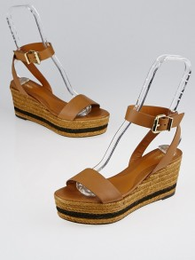 Fendi Brown Leather Hydra Wedge Sandals Size 8/38.5