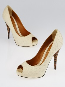Fendi Ivory Sueded Python Peep-Toe Pumps Size 7/37.5