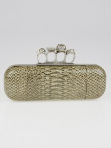 Alexander McQueen Grey Shiny Python Grainy Leather Knuckle Box Clutch Bag
