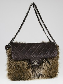 Chanel Brown Quilted Lambskin Leather and Fur Flap Bag