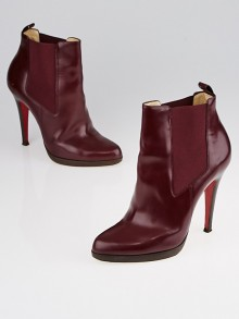 Christian Louboutin Burgundy Leather Bang Bang 100 Platform Ankle Boots Size 7/37.5