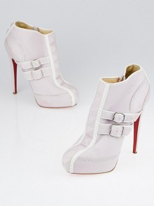 Christian Louboutin Pink/White Leather Bobo Platform Ankle Boots Size 7.5/38