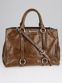 Miu Miu Nocciolo Vitello Shine Leather Shopper Tote Bag RN1037